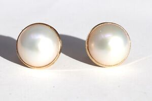 A Great Pair of Vintage 14ct 585 Yellow Gold Large Cultured Pearl Stud Earrings