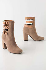 Anthropologie Buckled Mid-Boots Booties Neutral Beige Suede Leather Shoes Sz 41