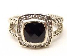Auth David Yurman Sterling Silver Albion Diamond Onyx Ring Sz 6 Split Shank Pave