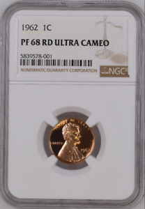 :1962 1C LINCOLN CENT RARE RED NGC PF-68-RD-ULTRA-CAMEO LOW-POP HIGHEST-GRADES