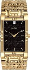 Bulova 97F59 Diamond Mens Black Dial Gold Tone Bracelet Rectangle Quartz Watch