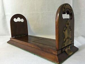Betjemann's Victorian Self Closing Antique Wood Book Slide Bookends Patent 14670
