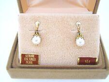 Earrings 14k yellow gold biwa pearl on post dangle pierced fancy cap