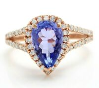 3.25 Carat Natural Tanzanite and Diamonds in 14K Solid Rose Gold Women Ring