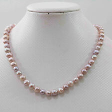 """Natural pink purple 7-8mm akoya freshwater pearl necklace 18"""""""