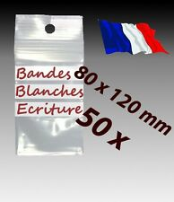 LOT 50  sachets  plastique zip 3 bandes 80x120 8x12