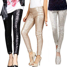 Hots Women Bling Sequins Trousers Rockabilly Bottom Leggings Stretch Tight Pants