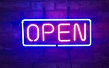 """""""OPEN"""" Display Real Glass Neon Sign Decor Beer Bedroom Bar Porcelain Vintage"""