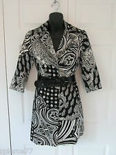 ALBERTO MAKALI Beaded Sequins Coat Dress Belted Black White Nothing Matches Art