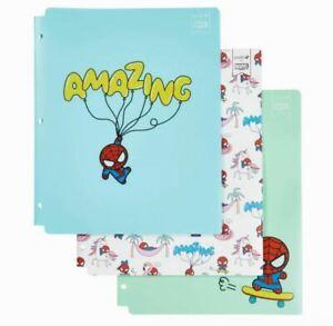 Yoobi Marvel 3 Pack Plastic Folders 2 Pocket Spider-Man Each Holds 100 Papers