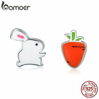 Bamoer S925 Sterling Silver Stud Earrings Enemal The turnip rabbit Women Jewelry