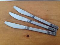Set of 3 Knives Butter Knife Vtg Mid Century MSI Japan DANIKA Stainless Flatware