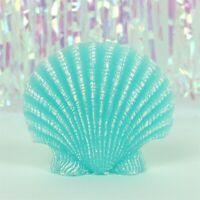 Stunning Turquoise Aquamarine Blue Mermaid Clam Seashell Candle In Gift Box