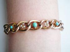 Fine Antique Victorian 9ct Gold Turquoise & Pearl set Curb Link Bracelet c1897