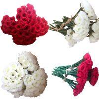 5x 12 Heads Bunch Rose Silk Flowers Artificial Rose Wedding Party Bridal Bouquet