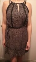 Size L (14/16) Dress by Oasis, RRP £32.00 black eith pink spots, summer