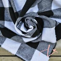 100% Cotton Flannel Black and White Buffalo Plaid Fabric by the Yard