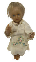 "Antique WAX DOLL 8"" BLONDE HAIR FLOWERED DRESS- CREEPY EYES"