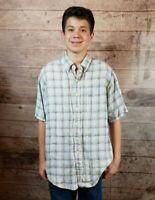Men's Brooks Brothers 100% Irish Linen Plaid Short-Sleeve Button-Down Shirt Sz L