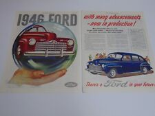 1946 FORD AUTOMOBILES 2-pages vintage print ad