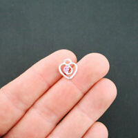 6 Heart Charms Antique Silver Tone With Pink Rhinestone - SC5251