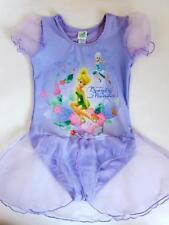 New Girls Disney TinkerBell Tutu Tulle Leotard Ballet Dance Dress Purple 5T-6T