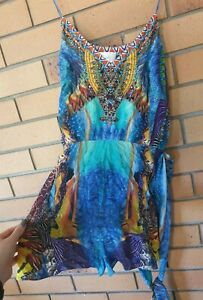 Camilla Dawn Til Dusk Flared V Neck Silk Tie Playsuit Size 10 1 Small $4 EXPRESS