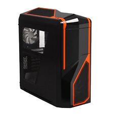 NZXT PHANTOM 410 BLACK ORANGE ATX USB 3 CASE PC CON Side Window & ventole di raffreddamento