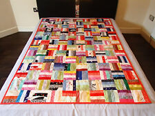 Handmade patchwork quilt (all colors squares) 190x135 cm, bed, sofa cover