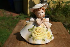 VINTAGE...CERAMIC...1964 - RELPO...GIRL, WITH YELLOW ROSE DRESS & HAT....PLANTER