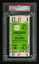 PSA 9 VANCOUVER 1978 Unused NHL Hockey Ticket for ATLANTA at Pacific Coliseum