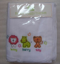 "Fleece Buggy Blanket ""LENNY HARRY AND TILLY) in white"