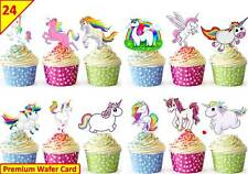 24 UNICORN Cup Cake Wafer Toppers Decorations Birthday Party Edible STAND UP