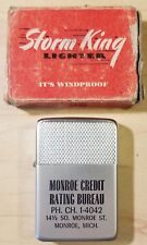 Vintage Storm King Windproof Lighter No. 13 w/ Advertisement & ORIGINAL BOX