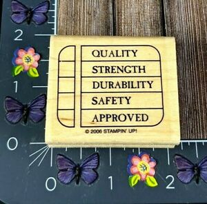 Stampin' Up! Quality Strength Durability Safety Chart Rubber Stamp Business #K18