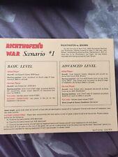 Avalon Hill's Richthofen's War Replacement Seven Scenarios Booklet Only