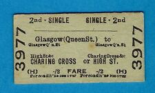 Ticket ~ BR (H) 2nd Single: Glasgow (Queen St) to Charing Cross or High St: 1959
