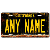 US Metal License Plate - California V4 Rusted, Personalise your own plate
