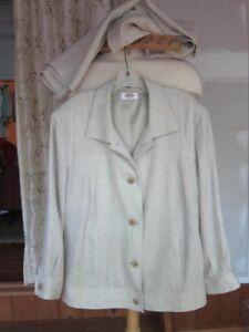 Talbot's Irish Linen Oatmeal Two Piece Suit~Pants~3/4 Sleeve Jacket~Size l8W  P