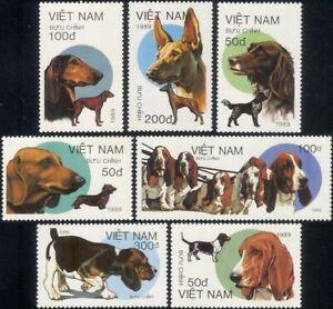 Vietnam 1989 Bassett Hounds/Working Dogs/Pets/Domestic Animals 7v set (s282b)