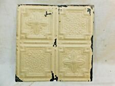 """1800s Antique 12"""" x 12"""" Tin Ceiling Tile Victorian Framed & Floral Design Ornate"""