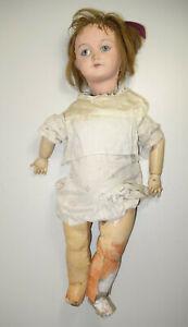 poupée ancienne, pour pièces, bras mains bois bon etat, yeux fixes, 57 cms