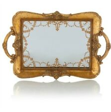 Gold Vintage Ornate Antique Shabby Chic Mirrored Trinkit Tray w/Handle Rare New