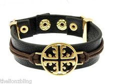 Urban Bohemian Black Leather Bracelet with Gold Cross Pendant Bling