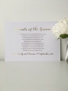 Wedding Gift Favour Parents Of The Groom Present Foil A4 300GSM White Card Poem