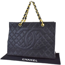 Auth CHANEL CC GST Quilted Chain Hand Bag Caviar Leather Black Vintage 50LB029