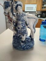 VINTAGE ORIENTAL BOMBAY CHINESE BLUE & WHITE PORCELAIN STATUE FIGURINE READ
