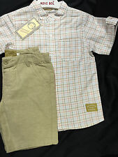 NEW BOYS OFFICIAL CLASSIC SPANISH  BEIGE CHECKED WOVEN SHORT & SHIRT SET 5 YEARS