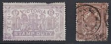 Australian States Victoria. £10 and 10/- Stamp Duty Issues. Bad Faults!