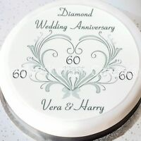 60th Wedding Anniversary Cake Topper - Personalised - Diamond Wedding -  Wafer